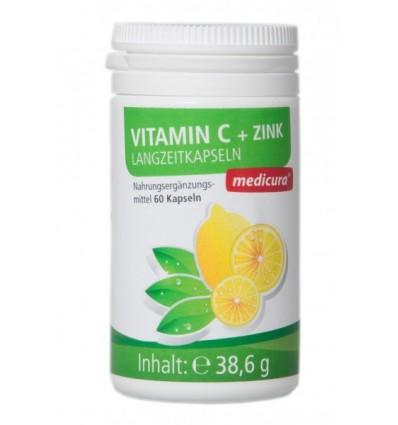 MEDICURA Maisto papildas vitaminas C+ cinkas, 60 kaps.