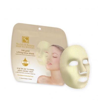 H&B Kaukė veidui 24 K auksu, hialuronu, vitaminais A,B5,E, 18 ml