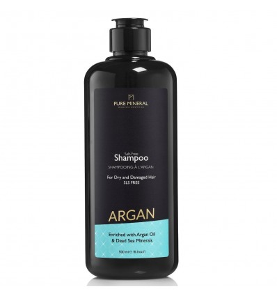 PURE MINERAL Šampūnas sausiems ir pažeistiems plaukams su arganu negyvosios jūros mineralais, 500 ml